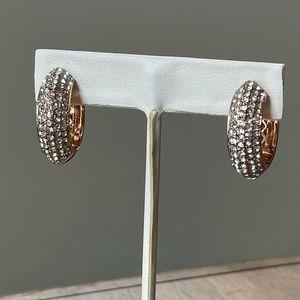 Joan Boyce Pave Crystal Hoop Earrings